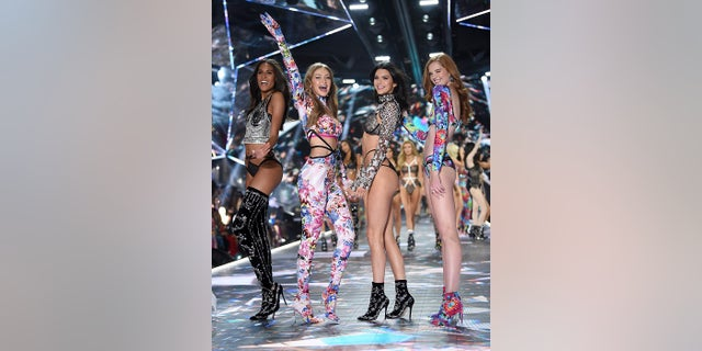 Models Cindy Bruna, left, Gigi Hadid, Kendall Jenner and Alexina Graham walk the runway during the 2018 Victoria's Secret Fashion Show at Pier 94 on Thursday, Nov. 8, 2018, in New York.