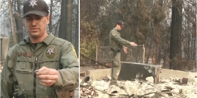 California Game Warden Jake Olsen said he found his wife's wedding ring while inspecting the damage at their Paradise property.