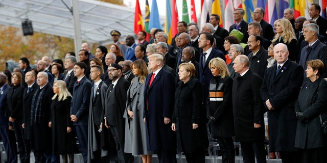 Heads of states and world leaders attend ceremonies at the Arc de Triomphe Sunday, Nov. 11, 2018 in Paris.