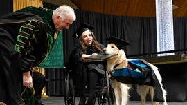 Service dog receives honorary diploma as handler graduates college
