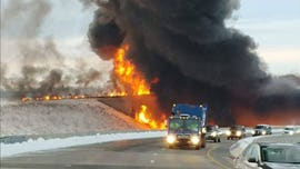 Huge fire erupts on North Carolina highway after tractor-trailer hauling 8,500 gallons of gas crashes