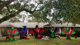 Louisiana author's Christmas dragons go viral after neighbors' flare up