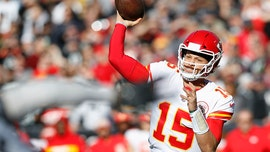Kansas City Chiefs' Patrick Mahomes launches football out of Arrowhead Stadium