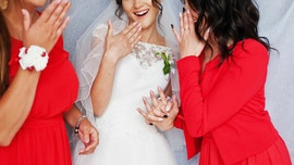 Bridesmaid grimaces at newlyweds' PDA in hilarious wedding photo