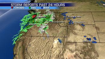 Rare tornado hits near Seattle; rain threat spreads across East Coast