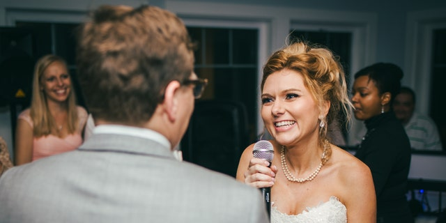 Jamie found out about a month before thewedding, but saved the surprise for the reception in South Carolina.