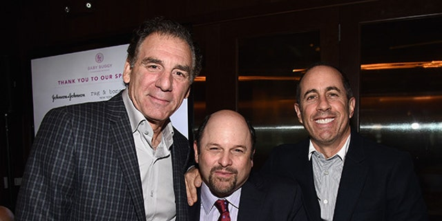 """It's a (mini) """"Seinfeld"""" reunion! While they were short one Julia Louis-Dreyfus, """"Seinfeld"""" stars (from left) Michael Richards, Jason Alexander and Jerry Seinfeld were reunited for a good cause. The actors met up Wednesday for a charity event to benefit Baby Buggy. It's great to see the crew back together again after 17 years."""