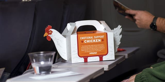 "For a limited time, Popeyes is offering travelers at Philadelphia International Airport an ""Emotional Support Chicken"" disposable tote when they purchase a 3-piece chicken tender combo meal."