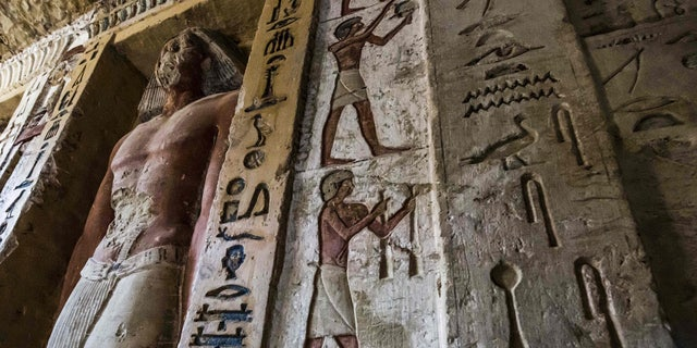 """This picture taken on December 15, 2018 shows a view of a newly-discovered tomb belonging to the high priest """"Wahtye"""" who served during the fifth dynasty reign of King Neferirkare (between 2500-2300 BC), at the Saqqara necropolis in Egypt. KHALED DESOUKI/AFP/Getty Images"""