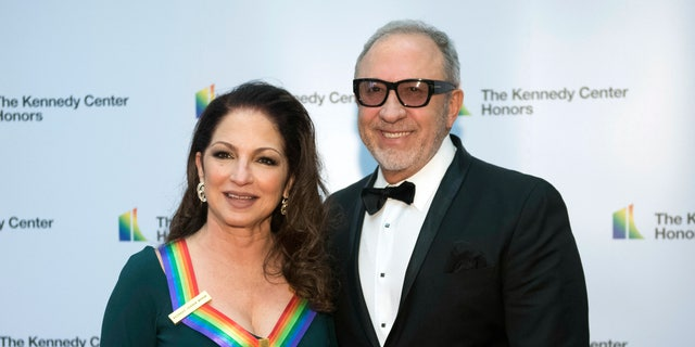 Gloria Estefan and Emilio Estefan arrive at the State Department for the Kennedy Center Honors State Department Dinner on Saturday, Dec. 1, 2018, in Washington.