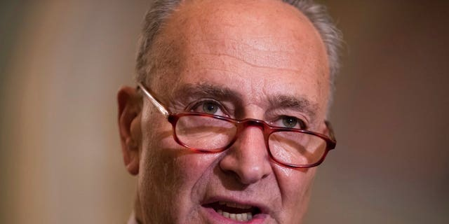 FILE Senate Minority Leader Chuck Schumer D-N.Y. speaks with reporters following the weekly Democratic policy meetings at the Capitol in Washington