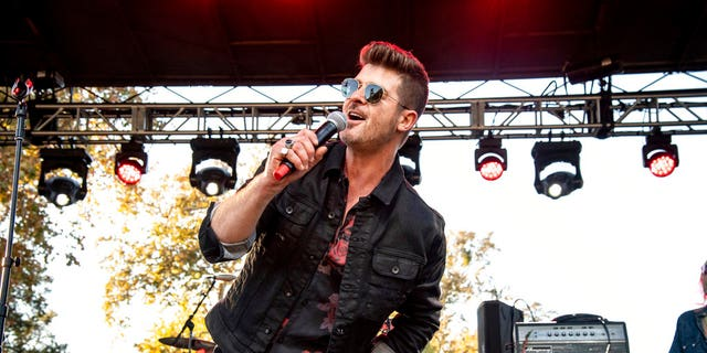 Robin Thicke performing at One Love Malibu at King Gillette Ranch.