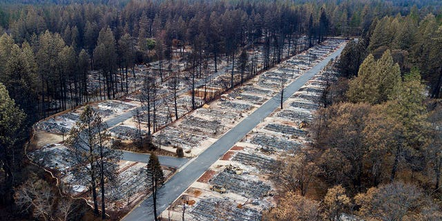 Homes leveled by the Camp Fire line the Ridgewood Mobile Home Park retirement community in Paradise, California on Dec. 3.