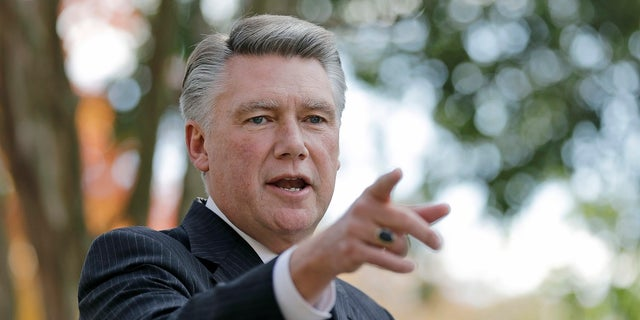 Mark Harris speaks to the media during a news conference in Matthews, N.C.