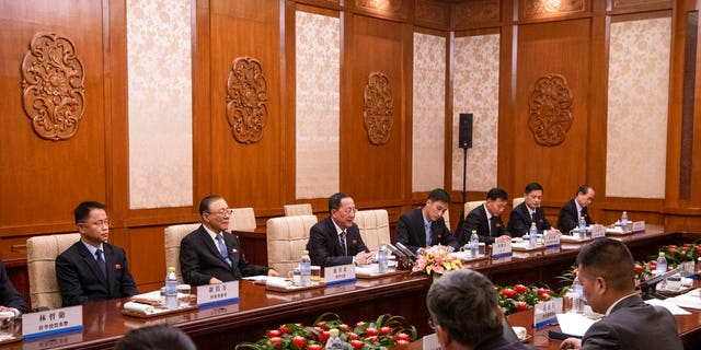 North Korean Foreign Minister Ri Yong Ho, center, speaks to China's Foreign Minister Wang Yi during a meeting at the Diaoyutai State Guesthouse in Beijing.