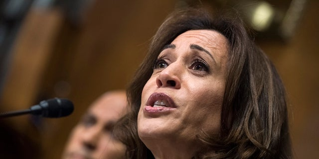 Sen. Kamala Harris, D-Calif., listens to Christine Blasey Ford testify during the Senate Judiciary Committee hearing on the nomination of Brett Kavanaugh to be an associate justice of the Supreme Court in Washington. (Tom Williams/Pool Photo via AP)