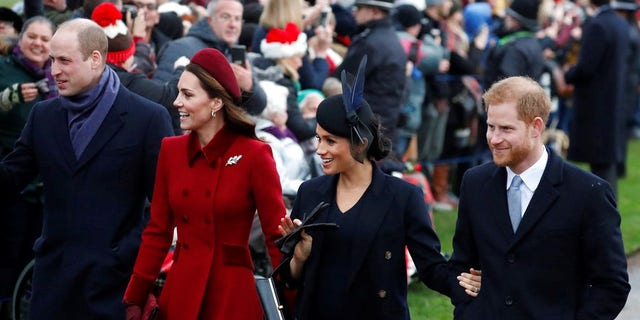Britain's Prince William, left, Kate, Duchess of Cambridge, second left, Meghan Duchess of Sussex and Prince Harry, right, arrive to attend the Christmas day service at St Mary Magdalene Church in Sandringham in Norfolk, England.