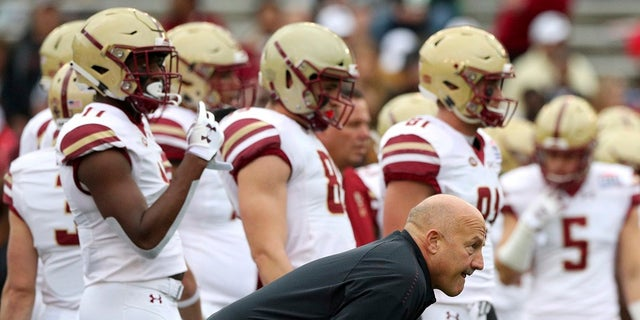 Boston College head coach Steve Addazio watches warm ups before the First Responder Bowl NCAA football game against Boise State Wednesday, Dec. 26, 2018, in Dallas. (Associated Press)