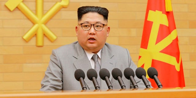 FILE - In this Jan. 1, 2018, file photo provided by the North Korean government, North Korean leader Kim Jong Un delivers his New Year's speech at an undisclosed place in North Korea. (Korean Central News Agency/Korea News Service via AP, File)