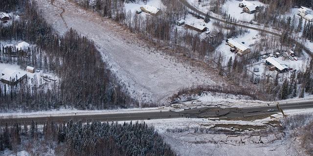 Aerial photo of damage from earthquake on Vine Road, south of Wasilla, Alaska. (Marc Lester/Anchorage Daily News via AP)