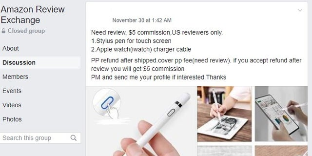 Fox News passed along this screenshot from a different Amazon review exchange group to Facebook representatives. The company shut the group down almost immediately.(Facebook/Fox News)