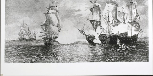 A depiction of the battle between USS Bonhomme Richard and the British frigate HMS Serapis.