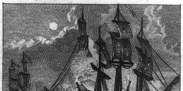 "Illustration of the battle between USS Bonhomme Richard and HMS Serapis, from ""Memoirs de Paul Jones."" (Library of Congress)"