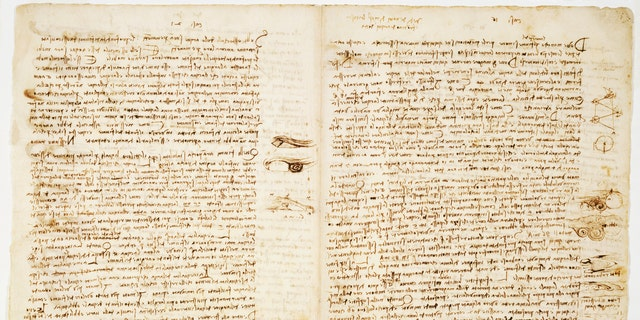 File photo - Sheet discussing how to read water for navigation from Leonardo da Vinci's Codex Leicester