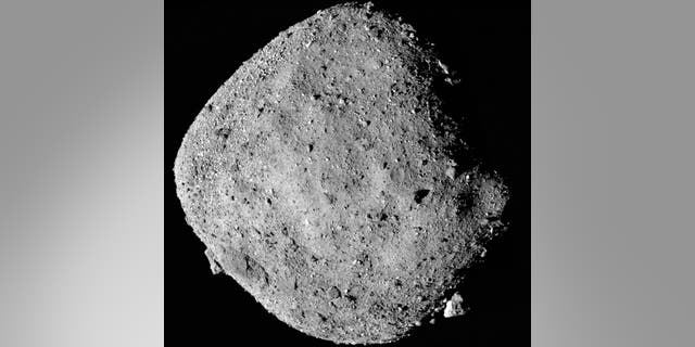 This mosaic image composed of 12 PolyCam images collected on Dec. 2, 2018, and provided by NASA shows the asteroid Bennu.
