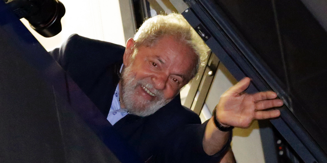 FILE - In this April 5, 2018 file photo, Brazil's former President Luiz Inacio Lula da Silva waves to supporters, in Sao Bernardo do Campo, Brazil. (AP Photo/Nelson Antoine, File)