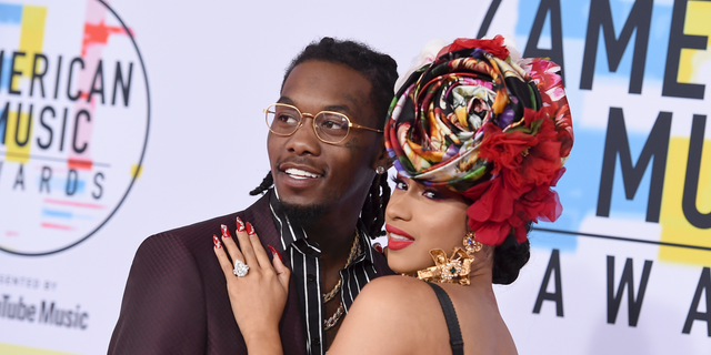 Offset, left, and Cardi B arrive at the American Music Awards at the Microsoft Theater on October 9, 2018 in Los Angeles, Calif.