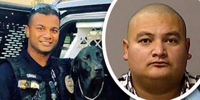 Gustavo Perez Arriaga, 33, right, who was in the country illegally and had previous arrests, was taken into custody Friday on suspicion of killing Newman police Cpl. Ronil Singh, 33, left. The arrest in California followed a two-day manhunt. (AP)