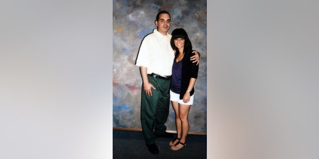 Jamie Scalise with her father, Richard Matt, during her first visit with him at the Clinton Correctional Facility in Dannemora, NY. — Courtesy of Jamie Scalise