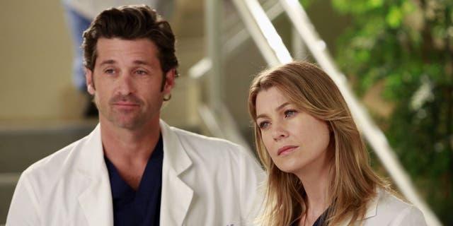 "Patrick Dempsey and Ellen Pompeo as Dr. Derek Shepherd and Dr. Meredith Grey on ""Grey's Anatomy."""