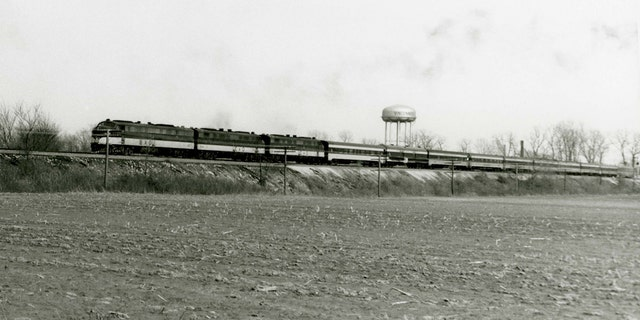 FILE -- The funeral train of Dwight Eisenhower.