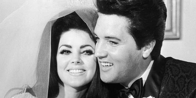 Elvis Presley and Priscilla Beaulieu Presley on their wedding day, May 1st, 1967, in Las Vegas. (Photo by Hulton Archive/Getty Images)