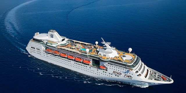 An aerial photo of the Empress of the Seas ship.