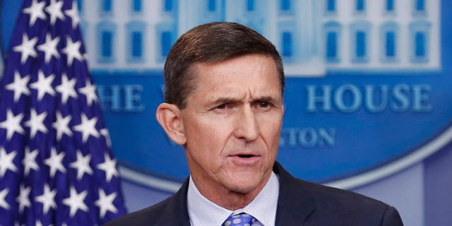 FILE - In this Feb. 1, 2017, file photo, then-National Security Adviser Michael Flynn speaks during the daily news briefing at the White House, in Washington. (AP Photo/Carolyn Kaster, File)