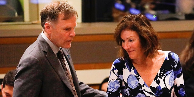 Fred Warmbier and his wife Cindy, parents of Otto Warmbier, attend a symposium on possible ways of international cooperation to urge the Democratic Republic of Korea (DPKR) to take concrete actions to improve the human rights situation in the DPRK at the United Nations headquarters in Manhattan, New York, U.S., May 3, 2018. (REUTERS/Shannon Stapleton)