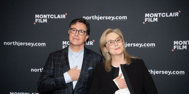 Stephen Colbert and Meryl Streep speak at Evening With Stephen Colbert & Meryl Streep at NJPAC on December 1, 2018 in Newark, New Jersey. (Photo by Dave Kotinsky/Getty Images for Montclair Film)