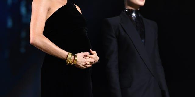 Meghan Markle broke from royal tradition by wearing dark nail polish.