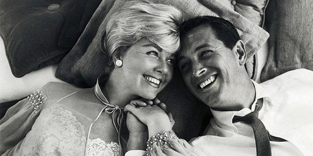 "Doris Day and Rock Hudson in ""Pillow Talk."""