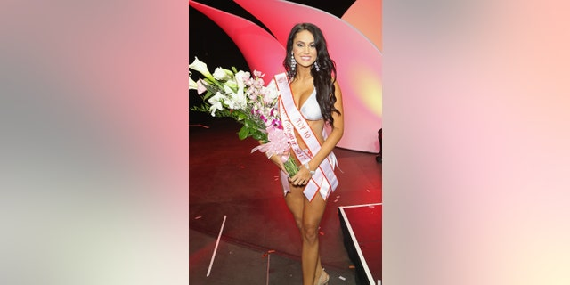 Hailey Slobodzian after winning the Fan Favorite 2017 award during the 21st annual Hooters International Swimsuit Pageant at The Pearl concert theater at Palms Casino Resort on July 12, 2017 in Las Vegas.