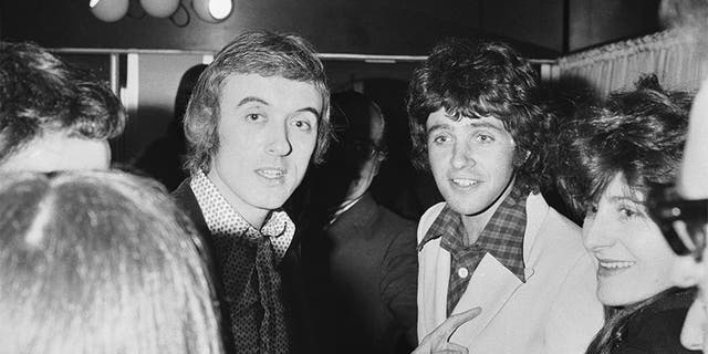 English pop singer David Essex (right) with writer Ray Connolly, 17th April 1973. Connolly wrote the screenplay of the film 'That'll Be the Day', which starred Essex.