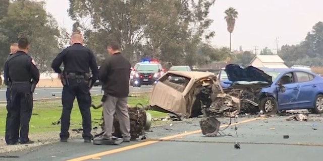 The scene after Gustavo Garcia crashed a stolen truck in Porterville, Calif. , on Monday.