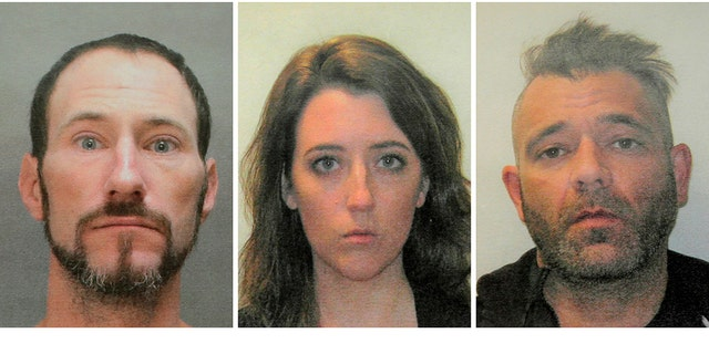 This November 2018 file combination of photos provided by the Burlington County Prosecutors office shows Johnny Bobbitt, from left, Katelyn McClure and Mark D'Amico.