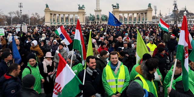 Participants of the anti-government demonstration under the title Merry Christmas, Mr. Prime Minister gathering in Heroes' Square in Budapest on Sunday. (Balazs Mohai/MTI via AP)