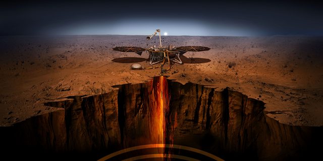 Artist's illustration of NASA's InSight lander on the surface of Mars. InSight touched down on Nov. 26, 2018, to study Mars' internal structure and composition.