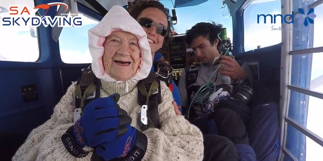 An Australian woman became the oldest person to skydive, at 102 years of age.