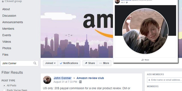"A Facebook user by the name of ""John Conner,"" a member of the ""Amazon review club"" group, looks a lot like the character ""John Connor"" from the film Terminator 2: Judgement Day. (Facebook/Fox News)"